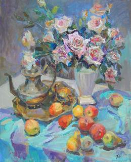 Белые розы, 60*80, масло, Черняковский