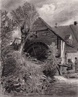 "Гравюра. Дж. Констебл - Лукас. ""Мельница."". До 1840 года. (42,8 на 29 см). Оригинал."