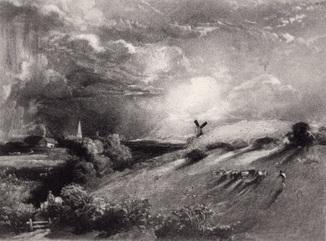 """Гравюра. Дж. Констебл - Лукас. """"Летний полдень"""". До 1840 года. (42,8 на 29 см). Оригинал."""
