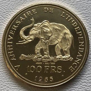 100 франков 1965 год Конго золото 32,25 грамм 900'