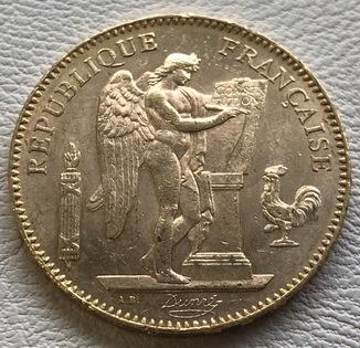 50 франков 1904 года Франция золото 16,12 грамм 900'