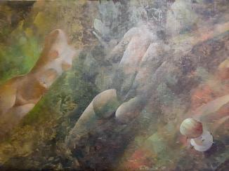 """Картина холст, масло """"Изгнание"""" А.Антонюк 1998 год"""