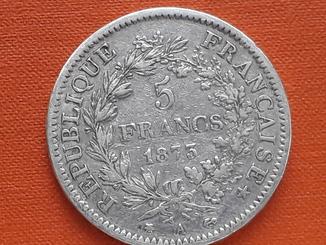 5 франков, Франция, 1873 год, А, Геркулес, серебро 900-й пробы 25 грамм