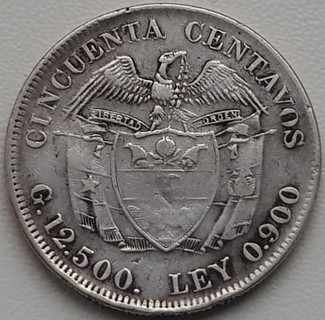 Колумбия 50 сентаво 1923 год серебро