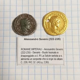 Ауреус и денарий Александра Севера.