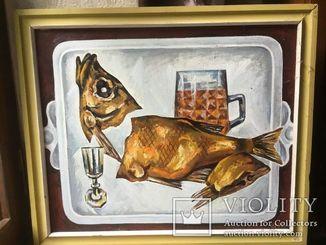 Картина холст, масло Натюрморт с рыбой. 60 х 50 см. Анатолий Данилов.