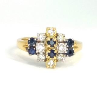 Винтажное золотое (18к) кольцо с сапфирами и бриллиантами