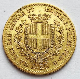 20 лир 1859 года. Сардиния. (Коробка, сертификат)