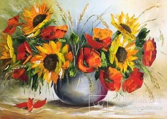 Картина «Букет полевых цветов» масло мастихин