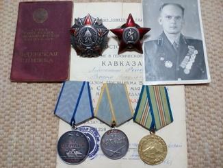 Комплект на Рейф В.Н.: Невского, КЗ, за Отвагу, БЗ, Кавказ