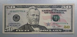 50 долларов с № 00077770