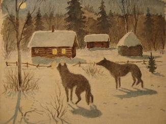 Волки на обоях