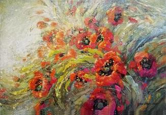 Картина «Вітер серед маків». Художник Ellen ORRO. холст/акрил. 60х42, 2001 г.