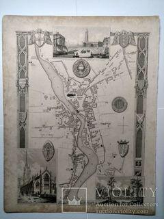 """Карта """"План Бостона"""", Томас Моул (Thomas Moule) 1850г (21 х 27см)"""