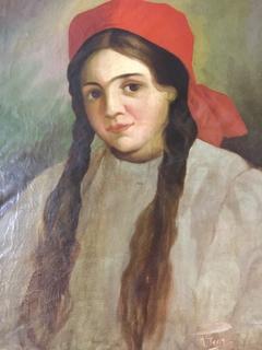 Картина  портрет девушки 1899 г