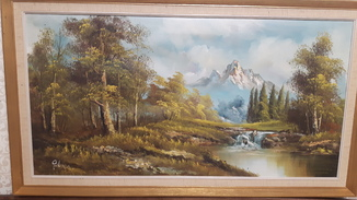 """Картина""""Горная река""""/Европа/Подпись автора/Холст"""