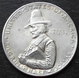 США , 1/2 доллара ( 50 центов ) 1920 г.,  '300 лет прибытию Отцов-пилигримов' UNC,