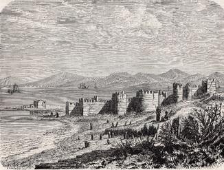 Старинная гравюра. 19 век. Географическая подборка. Турция. (19,1х13,6см.).
