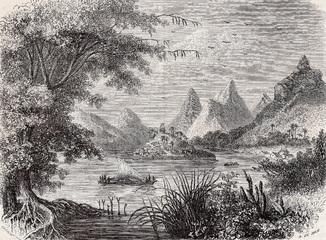 Старинная гравюра. 19 век. Географическая подборка. Фиджи. (19,2х13,1см.).