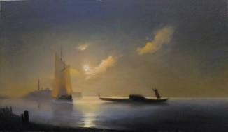 Гондольер на море ночью. Копия.