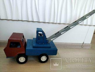 Игрушка СССР Советский Автокран Игрушка Металлическая Механическая - Большая 36 см в длину