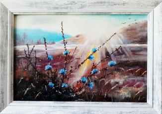 Картина маслом 20х30 Холодный рассвет над горной равниной