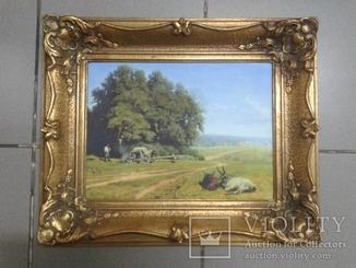 Картина в красивій рамі. Поле, буйволи та чоловік біля возу. Репродукция.