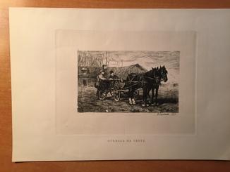 """Н.Самокиш,офорт , """"Отъезд на охоту"""",1883г."""