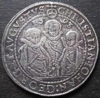 1 талер 1593 год , Три брата. Германия, Саксония