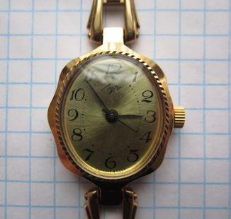 Часы женские Луч Au позолота, новые, паспорт