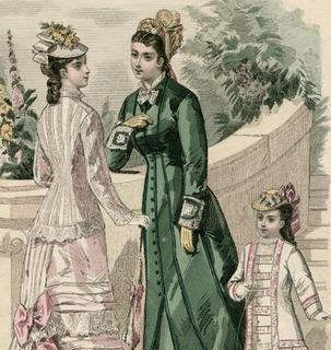 Старинная гравюра. 1877. Моды Парижа. 27х18см