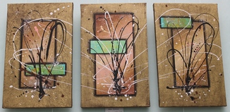 Картина модульная триптих акрил Золотые цветы, 3Х40Х25см