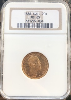 20 крон 1886 год MS-65 Швеция золото 8,97 грамм 900'