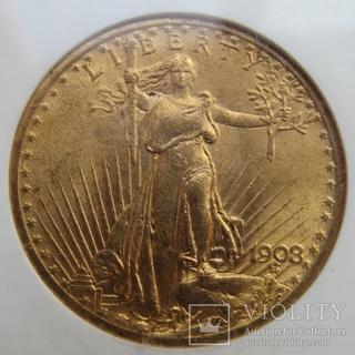 20 долларов 1908 г. США (MS63)