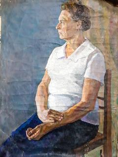 """Картина холст, масло """"Женский портрет"""" (60х80 см) 1960-е года. Художник Чернюк"""