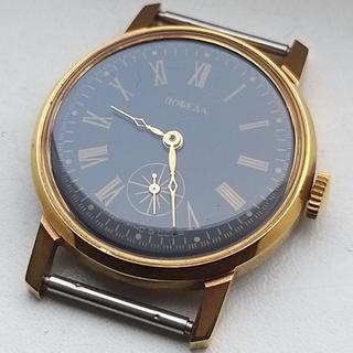 Часы Победа (черный циферблат) позолота Au