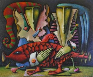 "Андрей Лозовой ""Тайная вечеря. Пролог"" 100х120,  холст, масло, 2019"