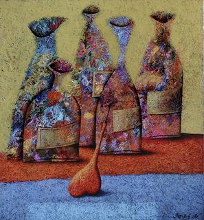 "Андрей Лозовой ""Натюрморт бутылки и груша"", 65х71,5, холст, масло, 2018"