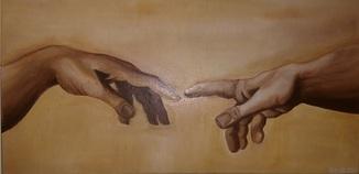Фрагмент картины ''Сотворение Адама''. Копия.