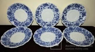 Пирожковые тарелки фарфор рельефы кобальт клеймо Германия