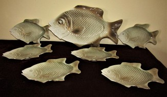 Сервиз в виде рыб большое блюдо + тарелки фарфор Fish Art