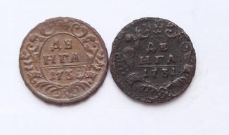 Денга 1731года образца 1730 и денга 1736