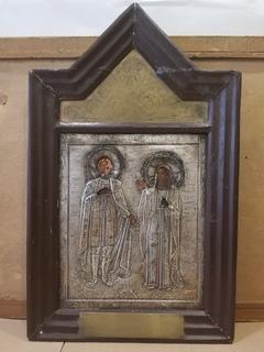 Икона св. Александра Невского и св.  мученицы ...  с памятной накладкой о войне.