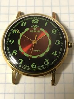 Часы с кусстарным циферблатом Jenni позолота AU 20+ СССР.