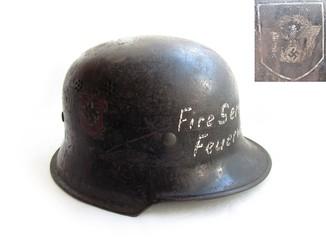 III REICH шлем каска пожарная М-34 Fire service feuerwehr пожарная служба.