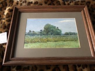 Пейзаж маслом с деревянной рамкой