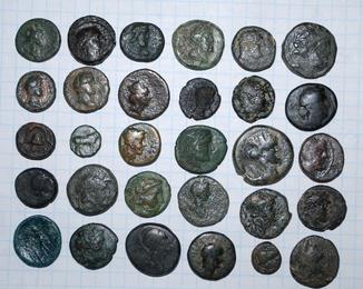 Лот монет Древней Греции, 30 шт.