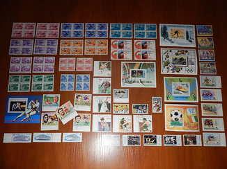 Спорт. Транспорт. (почтовые марки: = 108 шт. + блоки: = 6 шт.) Оптом.