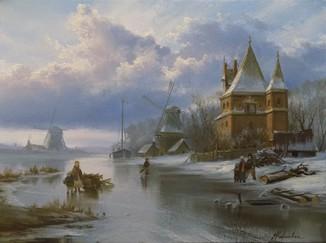 """Голландский пейзаж """"У старого замка"""" 30х40 см, х/м, Карлович Е.В."""