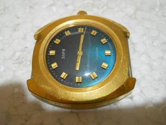 Часы позолоченные наручные мужские Заря СССР, на ходу, Au 10